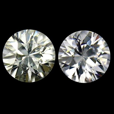 1.51 ct (2 Pcs) MATCHING PAIR Round Cut (2 x 5 mm) Cambodian White White Zircon Natural Loose...