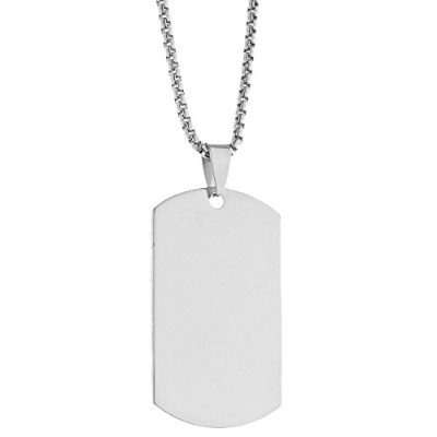 Iced Out Stainless Steel ペンダント Chain - Dog Tag シルバー
