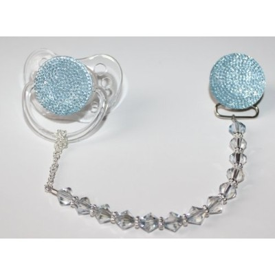 Blue Swarovky Crystal ONLY Pacifier Clip (CSGB) by Crystal Dream