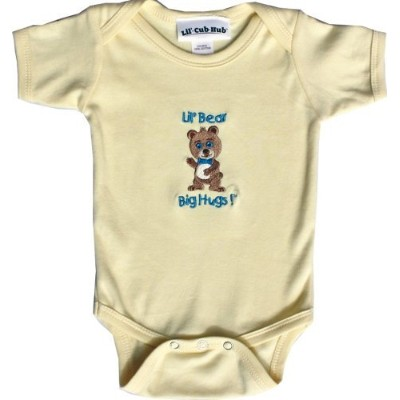 Lil CubハブBaby Boys ' Short Sleeve Onesie Bear カラー: イエロー