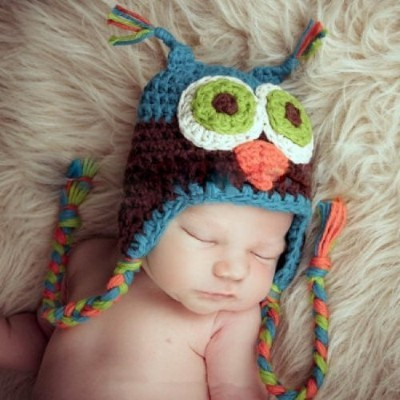 Newborn Baby Knit Cotton Hat Handmade Beanie Owl Cap (Blue/Brown) by Belsen
