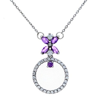 ペンダントCiterna Sterling Silver Round Pendant Necklace with Marquise Amethyst Kiss Design on 46 cm...