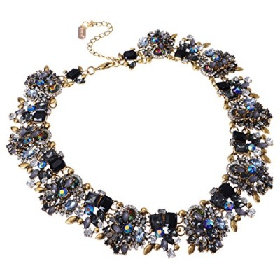 (Style 8) - Jerollin Women Fashion Necklets Glass Cluster Statement Chain Bib Bead Crystal Collar...