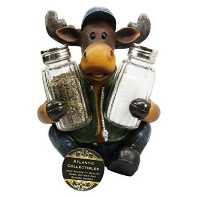 Atlantic Collectibles Comical Camper Moose Decorative Glass Salt Pepper Shakers Holder Resin Figurine by Atlantic Collectibles