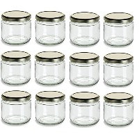 Nakpunar 12 oz Wide Mouth Jars Withゴールドガラス蓋 ゴールド NAKP12GJ12G