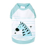 Blueberry Pet Henry the Zebra Cotton Dog Shirt in Aquamarine for Puppy, Back Length 8, Clothes for...