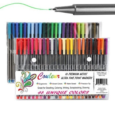 Fine Line Markers, 48Ct Fine Tip Washable Markers, Assorted Colours, Perfect Art Markers for Kids...