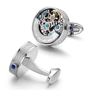 Dich CreatメンズCNC Inlaid with Hearts and Arrows Jewels Automatic Movement Cufflinks