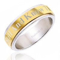 """(Ring - Size 9) - Christian Ring""""Be still and know that I am God"""" Cross - Unisex for Men/Boys or..."""