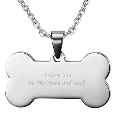 """Men 'sステンレススチール犬ボーンペンダントネックレス"""" I Love You To The Moon And Back」の父の日ギフト"""