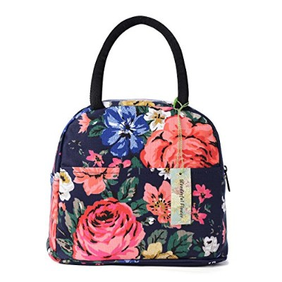 (21Navy/Coral) - wonderful flower Insulated Lunch Box Cooler Bag lunch bag flower (21Navy/Coral)