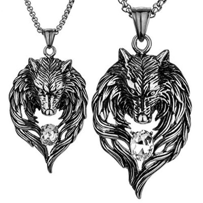 """yacqステンレススチールWolf Couple Necklaces For Him And Her 20"""" 24""""チェーン"""