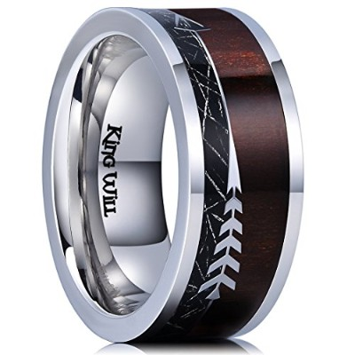 King Will Nature 8 mm Real Wood Inlayチタン結婚指輪模造Meteorite快適フィット