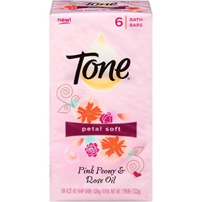 Tone Petal Soft Pink Peony & Rose Oil Soap Bars 6 Bath Bars 120g Each 1.59lbs by T.One