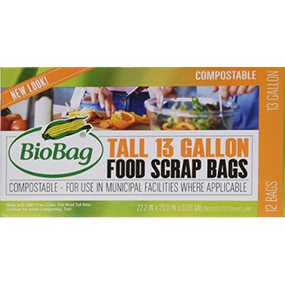 BioBag 13 Gallon Tall Kitchen Bags / Food Waste Bag, 12 Bags per Box (Total 36 Bags) by BloBag