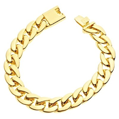 Iced Out Curb ブレスレット - CUBAN LINK 15mm ゴールド