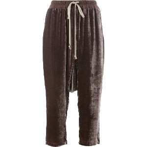 Rick Owens drop-crotch cropped trousers - ブラウン