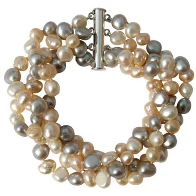 Cultured Freshwater Peach/Silver grey/White Baroque Pearl four strand chunky Bracelet with silver clasp, presented in a pretty satin silk pouch with a gift card