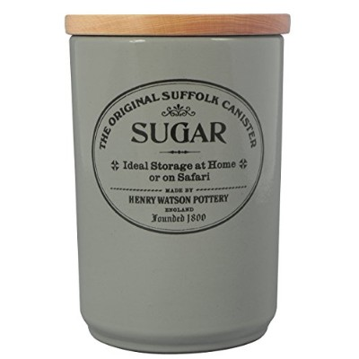 LargeセラミックSugar Canister in Dove Grey with Airtight Beech Lid、Made in England