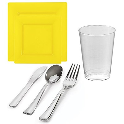 Kayaコレクション–Square Buttercup Yellow使い捨てプラスチック食器類Party Package–Includes Dinner Plates、サラダデザートプレート...