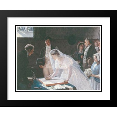 """Edmund Blair Leighton Framed andダブルマットアートプリント25x 29"""" Signing the Register """""""