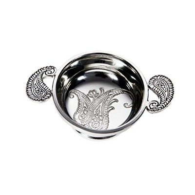Wentworth Pewter - Small Paisley Pewter Quaich Whisky Tasting Bowl Loving Cup Burns Night