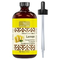 Beauty Aura 100% Pure Lemon Essential Oil 4 oz - Made from Real Lemon peels - Ideal for Aromatherapy...