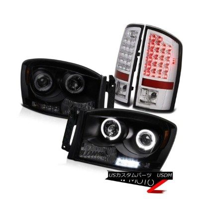 テールライト Dual Halo LED Headlight Tail Lights Dodge Ram 1500 2500 Hemi 5.7L WS 2007 2008 デュアルHalo...