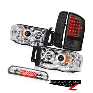 テールライト Chrome Halo Headlights Smoke LED Taillights Euro Third Brake 2002-2005 Ram 3500 クロムハローヘッドライトス...