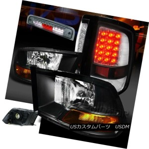 テールライト 09-13 Dodge Ram Black Headlights+Clear LED Tail Lamps+Smoke 3rd Brake Light 09-13 Dodge...