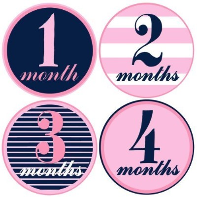 Baby Girl Monthly Milestone Stickers 1-12 Months Pink and Navy By Mumsy Goose by Mumsy Goose