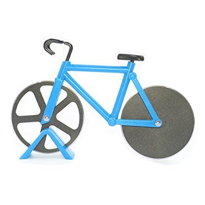 (Blue) - Bicycle Pizza Cutter,Langxian Pizza Slicer Dual Stainless Steel Non-stick Cutting Wheels...