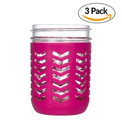 JarJackets Silicone Mason Jar Protector Sleeve - Fits Ball, Kerr 16oz (1 pint) Wide-Mouth Jars ...
