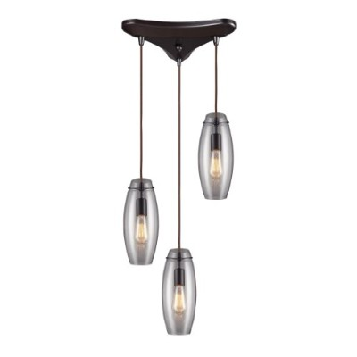 Elk 60044-3 Menlow Park 3-Light Pendant Oiled Bronze With Clear Blown Glass Shade by Elk
