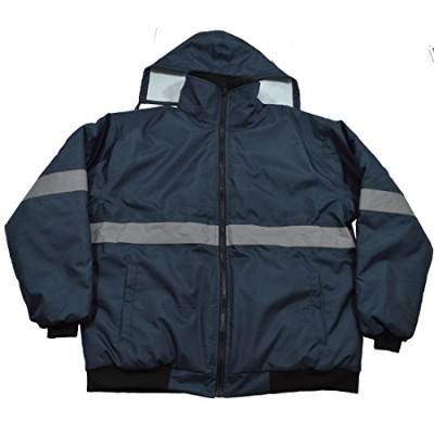 Petra Roc NVBJ-S1-XL Enhanced Visibility Navy Blue Quilted Bomber Jacket44; Extra Large