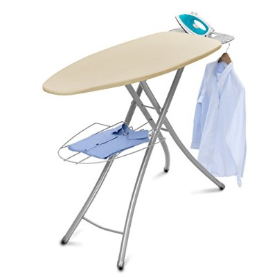 Wide-Top Ironing Board 4-leg design 100% cotton cover Garment hanger, Cream by HOMZ [並行輸入品]