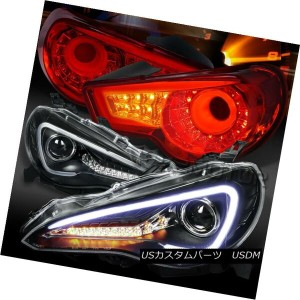 テールライト 12-16 Scion FR-S Black LED DRL Signal Projector Headlights+Red LED Tail Lamps 12-16サイオンFR...