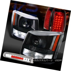 テールライト 03-06 Silverado Black Projector Headlights+Red LED Tail Lamps+Clear LED 3rd Stop 03-06...