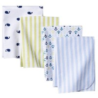 Circo 4pk Flannel Receiving Blankets - Whales 'n Waves by Circo