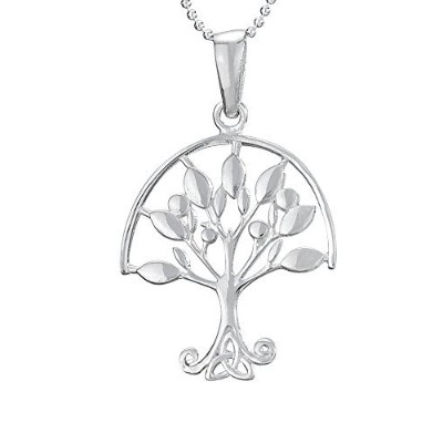 """Designs by Nathan 925シルバー明るいTree of Life with Open Growing Leaves on 18""""ボールチェーンネックレス"""