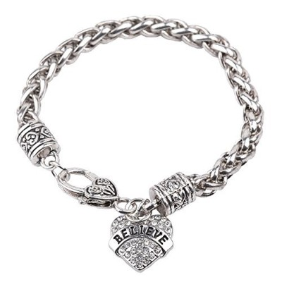 (Believe) - Bling Stars Mother's Day Gift for Mom Bracelet Clear Crystals Lobster Claw Heart...