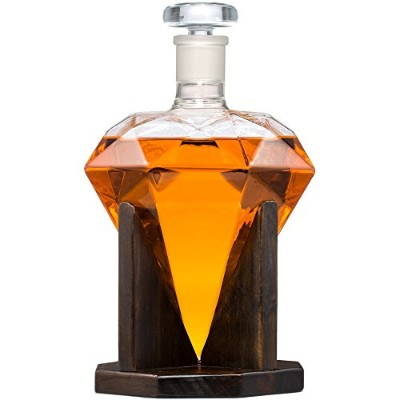 Diamond Shaped Whiskey Decanter – 33 oz Scotch Decanter – Artfully Crafted Decanter forブランデーワイン、...