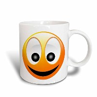 3dローズPerkins Designs文字–Smiley Face 1aイエローandブラックHappy Face with a big smile and huge eyes–...