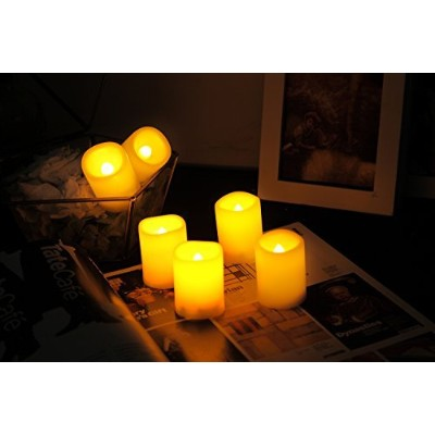 6 PCS Premium Flameless Candles with Timer, LED Votive, Battery Powered Votives with Timer, Long...