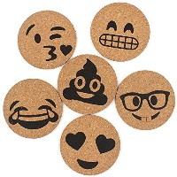 Zicome Cork Coasters for Emoji Theme Party Drinks, Set of 6, Round and Natural
