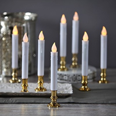 (Gold) - Set of 8 Flameless Plastic Ivory Taper Candles with Gold Removable Candleholders and Remote