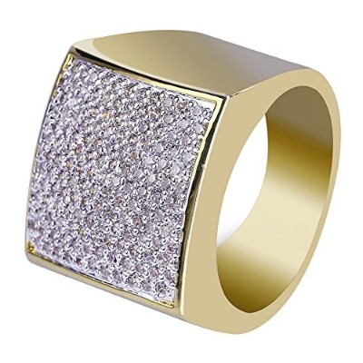Jinao 18 KゴールドIced Outヒップホップ結婚婚約Bling Micropave CZ正方形ピンキーメンズリング