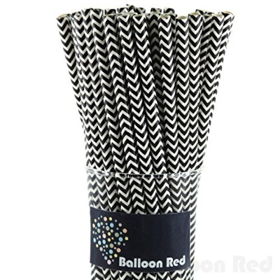 (50, Black Chevron) - Biodegradable Paper Straws (Premium Quality), Pack of 50, Black Chervon