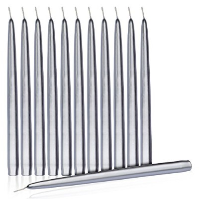 (Silver) - Dripless Taper Candles 20cm Inch Tall Wedding Dinner Candle Set Of 12 (Colour Of The...