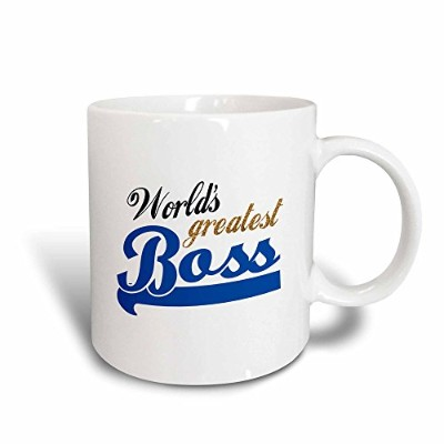 (330ml Magic Transforming Mug) - 3dRose Worlds Greatest Boss Gold Text on White Fun Office Gift,...